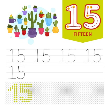 Kids learning material. Card for learning numbers. Number 15. Cartoon potted cactus.