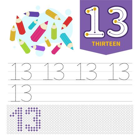 Kids learning material. Card for learning numbers. Number 12. Cartoon pencil