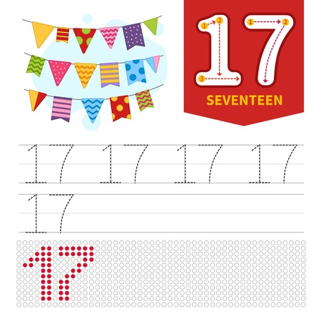 Kids learning material. Card for learning numbers. Number 17. Cartoon cute flags. Vetores