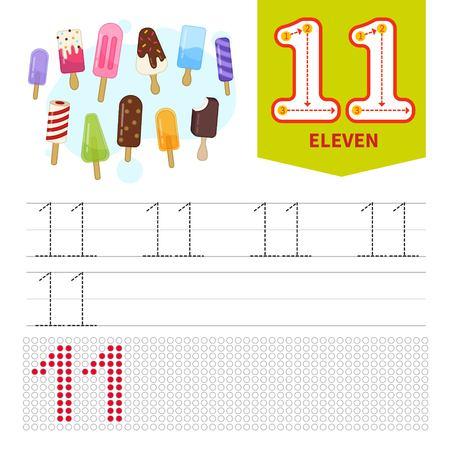 Lernmaterial für Kinder. Karte zum Lernen von Zahlen. Nummer 11. Cartoon süßes Eis..