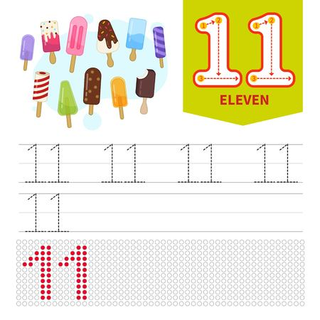 Kids learning material. Card for learning numbers. Number 11. Cartoon cute ice-cream..