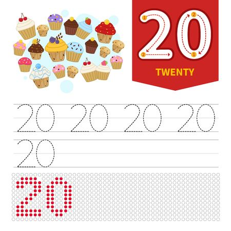 Kids learning material. Card for learning numbers. Number 20. Cartoon cute cakes.