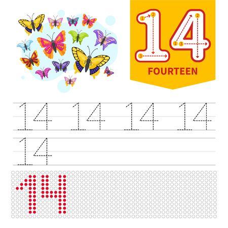 Niños aprendiendo material. Tarjeta para aprender números. Número 14. Mariposas de dibujos animados