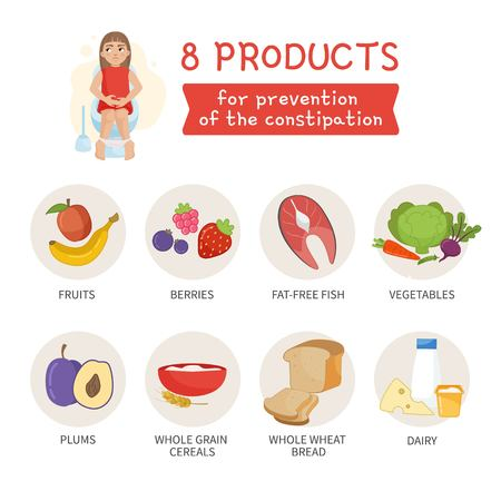 Vector poster 8 products for the prevention of constipation Illustration