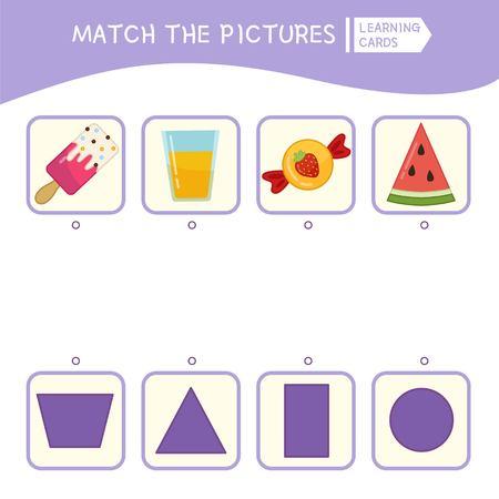 Passendes Lernspiel für Kinder. Übereinstimmung von Objekten und geometrischen Formen. Aktivität für Kinder und Kleinkinder im Vorschulalter.