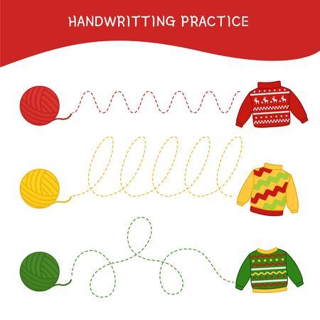 Handwriting practice sheet. Basic writing. Educational game for children.  Cartoon yarn and sweaters. 일러스트