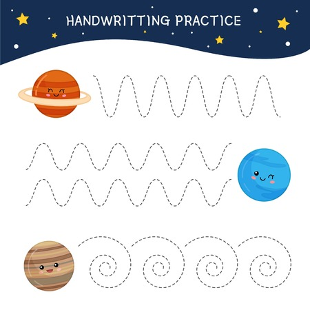 Handwriting practice sheet. Basic writing. Educational game for children.  Cartoon cute planet.