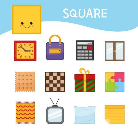 Materials for kids learning forms. A set of square shaped objects Illustration