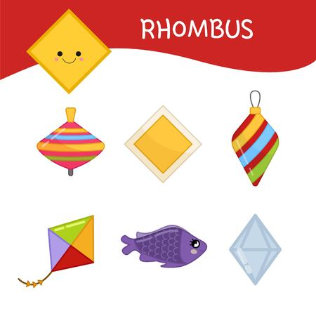 Materials for kids learning forms. A set of diamond shaped objects Vektorové ilustrace