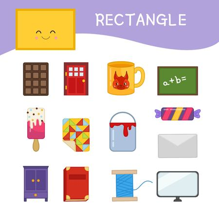Materials for kids learning forms. A set of rectangle shaped objects Illustration