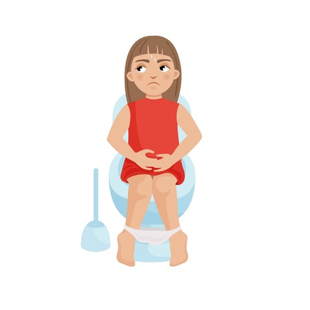 Illustration of a pretty girl on the toilet. Constipation, digestive disorders. Stock Illustratie
