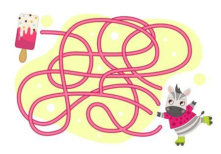 Maze game for children. Cartoon cute zebra and ice cream.