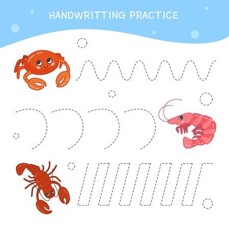 Fiche pratique d'écriture. Ecriture de base. Jeu éducatif pour les enfants. Animaux marins mignons de dessin animé.