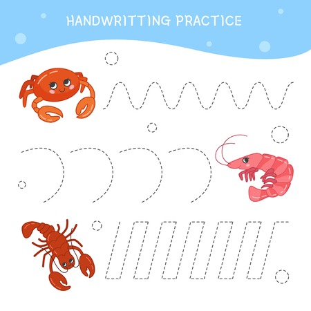 Handwriting practice sheet. Basic writing. Educational game for children.  Cartoon cute sea animals. Vettoriali
