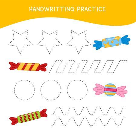 Handwriting practice sheet. Basic writing. Educational game for children.  Cartoon candies. 일러스트
