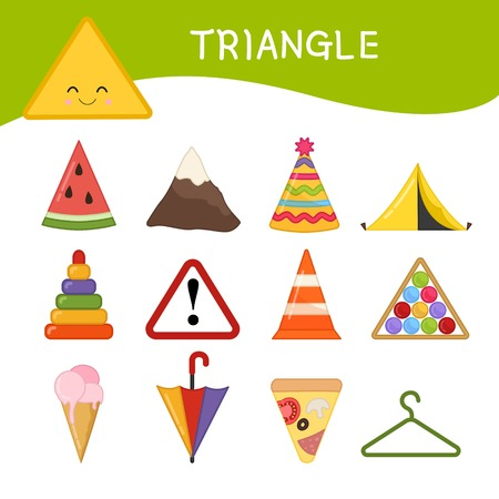 Materials for kids learning forms. A set of triangle shaped objects Illusztráció