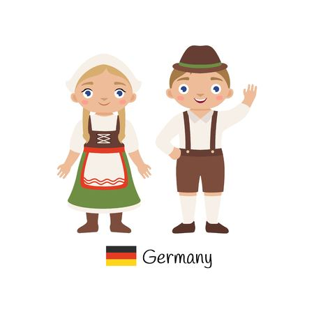 Vector illustration. Boy and girl in traditional German costumes.