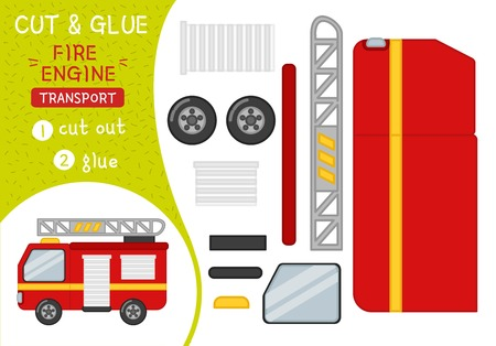 Education paper game for preshool children. Vector illustration of cartoon fire engine.