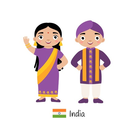 Vector illustration. Boy and girl in traditional Indian costumes.