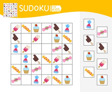 Sudoku game for children with pictures. Kids activity sheet.  Cartoon cute sweets. Banque d'images - 118997550