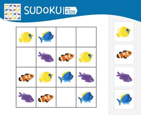 Juego de Sudoku para niños con imágenes. Hoja de actividades para niños. Pescado de dibujos animados. Ilustración de vector