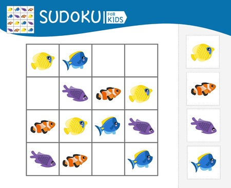 Sudoku game for children with pictures. Kids activity sheet. Cartoon fish.