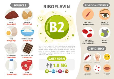 Infographics Vitamin B2. Products containing vitamin. Daily norm. Symptoms of deficiency. Vector medical poster. Vektorové ilustrace