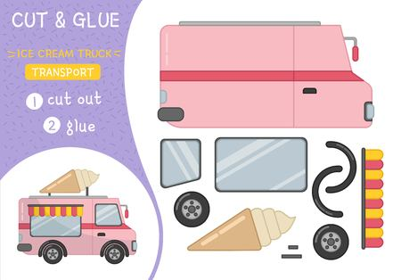 Education paper game for preshool children. Vector illustration of cartoon ice cream truck.