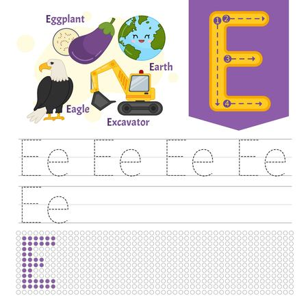 Handwriting practice sheet. Basic writing. Educational game for children. Learning the letters of the English alphabet. Letter E. Иллюстрация