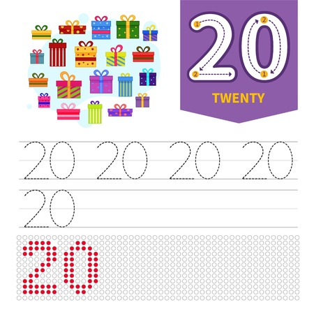 Kids learning material. Card for learning numbers. Number 20. Cartoon gifts.