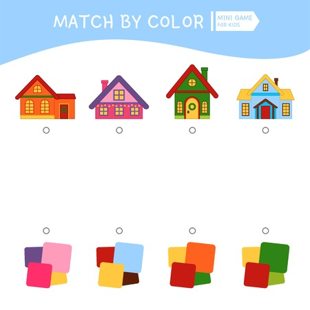 Matching children educational game. Match by colors. Activity for pre s?hool years kids and toddlers. Illustration of houses.