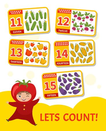 Kids learning material. Card for learning numbers. Number 11-15. Cartoon vegetables. Illustration of cute baby in tomato costume.