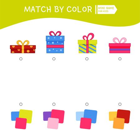 Matching children educational game. Match by colors. Activity for pre s�hool years kids and toddlers. Illustration of gifts. Illustration