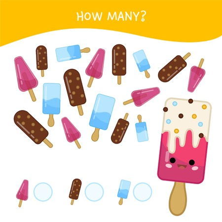 Counting educational children game, math kids activity sheet. How many objects task. Cartoon cute ice cream.
