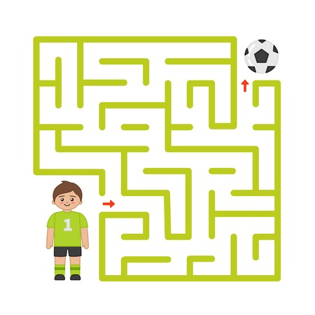 Gioco del labirinto per bambini. Aiuta il calciatore a raggiungere la palla.