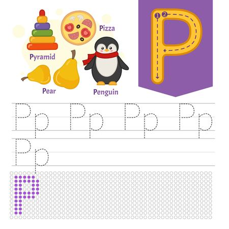 Handwriting practice sheet. Basic writing. Educational game for children. Learning the letters of the English alphabet. Letter P. Ilustração