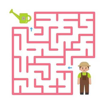 Maze game for children. Help the gardener find a watering can.
