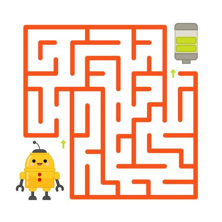 Help the robot to charge the battery. Maze game for children. Vettoriali