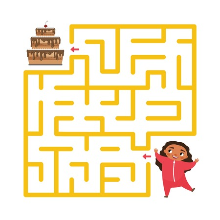 Maze game for children. Help the girl to reach the cake. Vettoriali