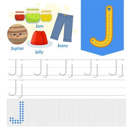 Handwriting practice sheet. Basic writing. Educational game for children. Learning the letters of the English alphabet. Letter J. Vektoros illusztráció