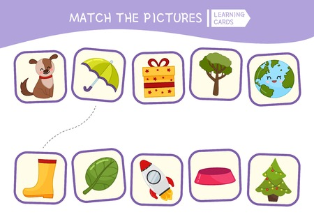 Matching children educational game. Match of objects. Activity for pre sсhool years kids and toddlers.