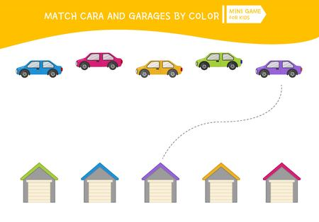 Matching children educational game. Match of garages and cars. Activity for pre sсhool years kids and toddlers.