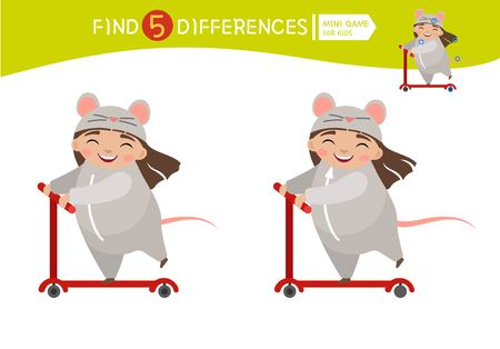 Find differences.  Educational game for children. Cartoon vector illustration of cute girl in mouse  costume on scooter.