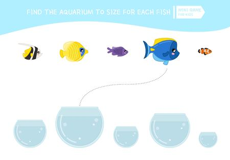 Matching children educational game. Match  of cartoon fish to size . Activity for pre school years kids and toddlers. Illustration