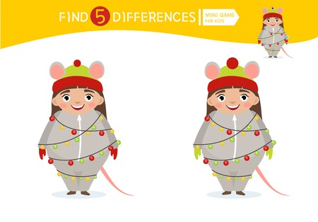 Find differences.  Educational game for children. Cartoon vector illustration of cute girl in mouse  costume with garland.