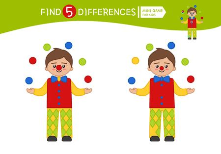 Find differences.  Educational game for children. Cartoon vector illustration of cute clown.
