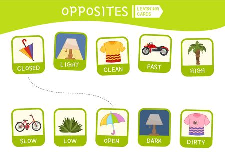 Matching children educational game. Match of opposites. Activity for pre sсhool years kids and toddlers.