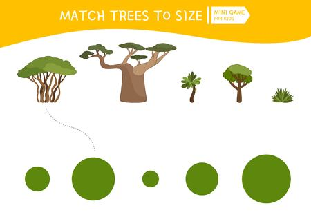 Matching children educational game. Match  of cartoon trees to size . Activity for pre school years kids and toddlers. Vectores
