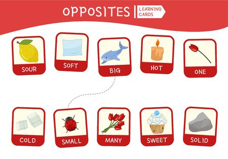 Matching children educational game. Match of opposites. Activity for pre sсhool years kids and toddlers. Vetores
