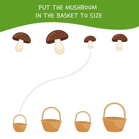 Matching children educational game. Match  of cartoon mushrooms and baskets to size . Activity for pre school years kids and toddlers. Vectores